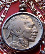 buffalo Indian coin pendant