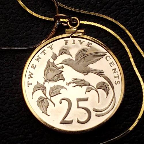 hummingbird coin pendant necklace