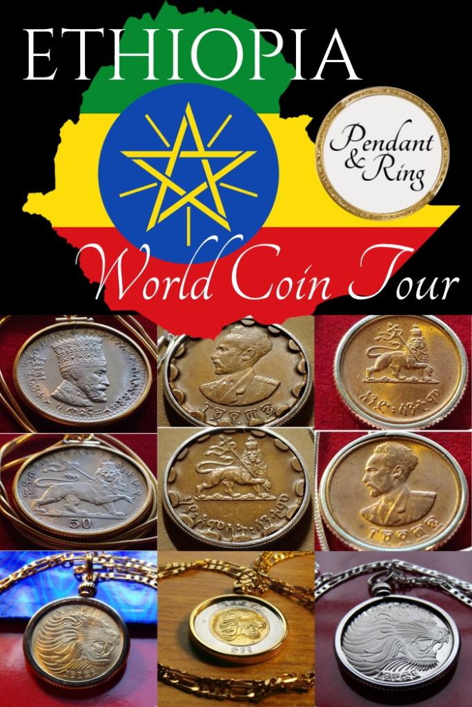 Rastafarian Rasta Jah Haile Selassie Coin Pendant Necklace